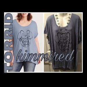 TORRID MINNIE MOUSE BOWS LACE UP BACK TEE~2/2X~EUC